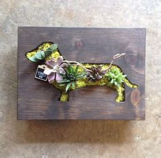 CUSTOM COLOR Dachshund Shaped Succulent Vertical by LoliviaGifts, $70.00