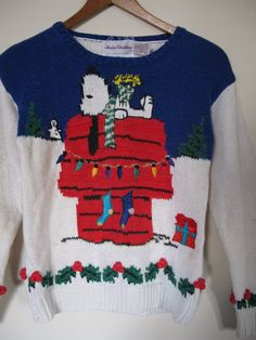 peanuts snoopy xmas christmas sweater cardigan winter holiday xs s small ugly xmas sweater party holly hand knit marisa christina vintage