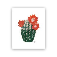 Our Heiday Flowering Cacti IV Art Print - 8x10 by Our Heiday   Florals & Botanical Gifts   chapters.indigo.ca