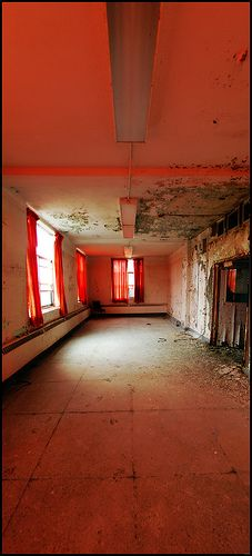 Red room in an abandoned sanatorium in Ontario