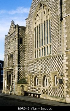 Kings Lynn Guildhall Norfolk flint flushwork chequer pattern board style English Medieval architecture East Anglia England UK Stock Photo