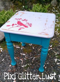 End Table Painted With Maison Blanche Chalk Paint In Collette Grey Top With  Red Bird Stencil