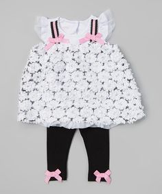 Love this White Rosette Tunic & Black Leggings - Infant & Toddler by Nannette Baby on #zulily! #zulilyfinds