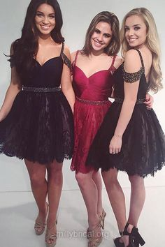Cheap Short Prom Dresses,A-line V-neck Black Cocktail Dresses, Lace Short Party Gowns, Junior Beading Homecoming Dresses