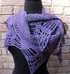 Shawl, crocheted in purple