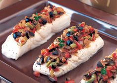 Hallibut w/ Red Pepper & Olive Relish http://www.bonappetit.com/recipes/2003/02/halibut_with_red_bell_pepper_and_olive_relish