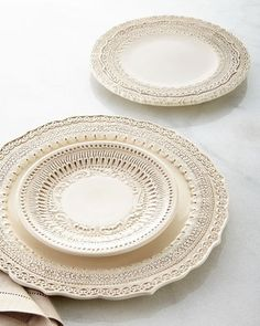 -4YMG Arte Italica  Finezza Cream Dinner Plate Finezza Cream Salad Plate Finezza Cereal Bowl