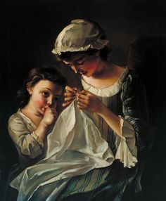 A girl Sewing    by Philippe Mercier (also known as Philip Mercier; 1689 in Berlin – 18 July 1760 in London) was a French painter and etcher, who lived principally and was active in England. He was born in Berlin of French extraction, the son of a Huguenot tapestry-worker.