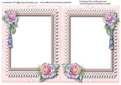 A5 incert wedding with pink roses  on Craftsuprint - Add To Basket!