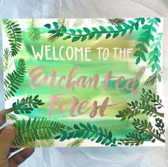 Enchanted Forest Fairy Birthday Party Sign Watercolor Greenery Leaves Couture Handmade Art by: Pigment & Parchment