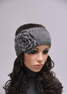 Knit flower head band