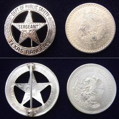 Texas Rangers Badge made from Mexican coin.
