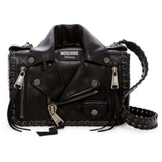 MOSCHINO Whipstitched Leather Jacket Shoulder Bag (5.115 RON) ❤ liked on Polyvore featuring bags, handbags, shoulder bags, black, zipper shoulder bag, zip shoulder bag, shoulder handbags, moschino purse and moschino shoulder bag