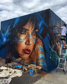Woman Street Art Graffiti .Adnate in Melbourne, Australia.