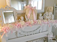 """shabby pink  mantle decor 