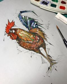 Okey... as i promised. Watercolor added on the last day of the year of the rooster! #watercolor #rooster #painting #traditional #drawing #psdelux