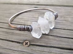 Raw Quartz Bangle Bracelet Wire Wrap Jewelry by daniellerosebean, $32.00