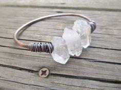 Raw Quartz Bangle Bracelet Wire Wrap Jewelry Crystal Bracelet DanielleRoseBean Copper Bangle Bracelet