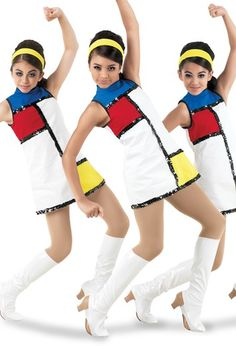 Weissman® | Color-Block Mod Character Costume Dance Costumes Kids, Tap Costumes, Stage Outfits, Dance Outfits, Happy Feet Dance, Color Guard Uniforms, Cute Young Girl, Ballroom Dance Dresses, Character Costumes