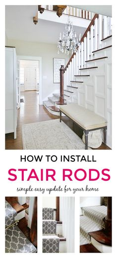 What Are Stair Rods (and Why They Make Your Stairs So Much Cuter), Home Accessories, What are stair rods? Have you ever heard of them? Have you ever installed them in your home? Here are all the FAQ's to make your stairs even cuter. Diy Furniture Projects, Home Projects, Decorating Your Home, Diy Home Decor, Decorating Ideas, Stair Rods, Wood Shutters, Diy Porch, Home Upgrades