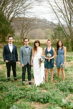 mismatched bridal party, blue gray