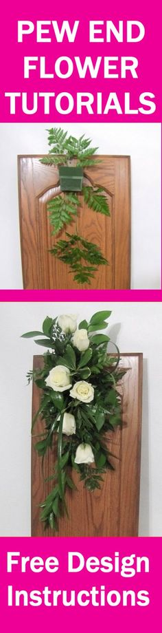 Pew Decorations - Easy DIY Flower Tutorials Learn how to make bridal bouquets, wedding corsages, groom boutonnieres, church pew ends, candelabras and other decorations and reception table centerpieces. Buy wholesale flowers and discount florist supplies. Wedding Pew Decorations, Wedding Pews, Wedding Bouquets, Wedding Flowers, Wedding Corsages, Wedding Church, Church Decorations, Wedding Table, Bridal Table