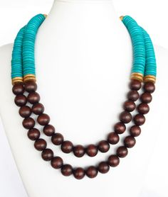 COLOR BLOCK Wood Necklace - Brown & Turquoise Beaded Necklace - Anthropologie Inspired. $46.00, via Etsy.