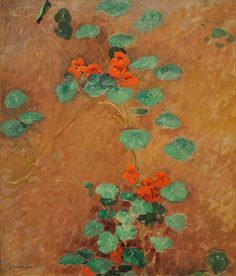 Gustave Caillebotte: Nasturtiums One of my favorite Impressionist painters, although I was in my when I first saw his work. This is so lovely & beautifully composed. Pierre Auguste Renoir, Art Floral, French Impressionist Painters, Peach And Green, Tile Murals, Oil Painting Reproductions, Claude Monet, Great Artists, Painting & Drawing