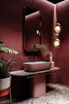Mitte bathroom on Behance # bad inspiration Mitte bathroom on Bra Inspiration Badezimmer Bad Inspiration, Bathroom Inspiration, Interior Inspiration, Bathroom Red, Master Bathroom, Bathroom Ideas, Red Bathrooms, Bathroom Cabinets, Shower Bathroom