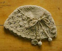 Crochet beige hat ♥LCH♥ with diagram -- Gorro tejido a gancho | Solountip.com