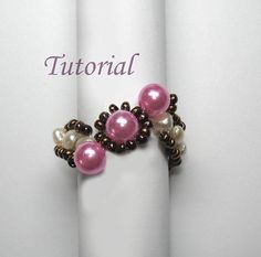 Beaded Ring Tutorial Beading Tutorial  Beaded Three-Pearl