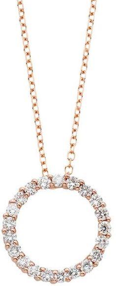 Memoire 18k Rose Gold Diamond Heart Pendant Necklace pfGeB3oJ
