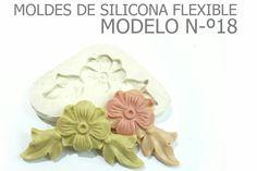 molde de silicona numero 18 flor con dos hojitas