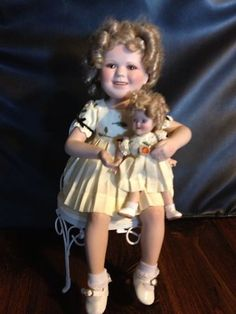 Shirley Temple Doll in Chair w Doll 14 Porcelain | eBay