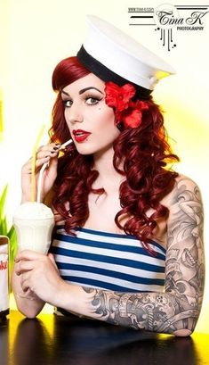 alternative, flower, hair, hairstyle, hat - Long Red loose Curls with side bang