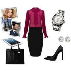 """Eva's crimson long sleeved silk shirt & black pencil skirt at the first meeting for Kingsman Vodka with Gideon.""""The door opened and I was gestured in first.I made sure to smile brightly as I stepped inside...a smile that froze on my face at the sight of the man rising to his feet at my entrance.My abrupt stop bottle-necked the threshold and Mark ran into my back,sending me stumbling forward.Dark and Dangerous caught me by the waist,hauling me off my feet and directly into his chest.""""…"""