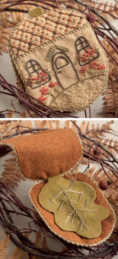 Spectacular embroidery that you can do too! We 3 this pretty Acorn Needle House - it's just one of many beautiful, functional projects you can create in Stitches from the Garden, the new book by Kathy Schmitz. Embroidery Stitches, Hand Embroidery, Embroidery Patterns, Embroidery Tattoo, Indian Embroidery, Japanese Embroidery, Tatting Patterns, Needle Case, Needle Book