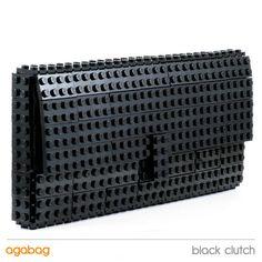 LEGO Brick Clutch Purse 23x10.5x2cm in Solid Black, $120 via 'agabag' on Etsy