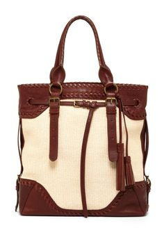 Isabella Fiore Large Belted Straw Weave Tote