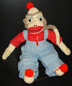 """Vtg Large 16"""" Handmade Sock Monkey Red Shirt Overalls Pom Pom Hat Feet Long Tail   eBay"""