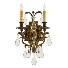 Metropolitan® Family Collection - Two Light Wall Sconce - Two Light Wall Sconce in Antique Bronze Patina Finish w/Oversized Clear Teardrop Crystals.  Created using Lost Wax casting technique and handcrafted in Italy.