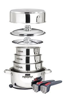 A MUST HAVE for all RVers! Such a space saver. A perfect gift for your RV friend or Moma! Magma 10 Piece Gourmet Nesting Stainless Steel Cookware Set