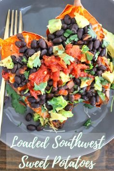 Go savory with your sweet potato by trying this recipe for Loaded Southwest Sweet Potatoes! #easydinner #vegetarian #glutenfree #healthyrecipe   The Nutrition Adventure