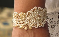 Beaded Cuff Vintage Lace Hand Embroidered Beadwork Pearls Bracelet, Wedding Cuff, SNIR