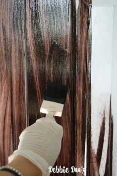 How to paint a plain white door to look like wood - Debbiedoos
