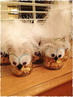 Owl Mason Jars with Caramel Popcorn Party Favors for Baby Shower