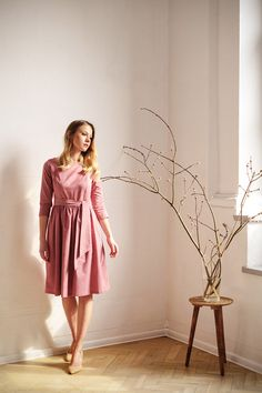 Marie Zélie - Melia dress in pink oxford cotton. Midi, flared dress for spring, 3/4 sleeves. Classic, vintage, modest.