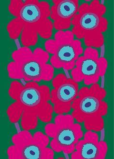 Unikkoryöppy. Kuosin ainutlaatuinen väriyhdistelmä juhlistaa Unikon 50-vuotisjuhlavuotta – ikoninen Unikko-kuosi on ollut mallistossa vuodesta 1964. Kestävästä ja paksusta sataprosenttisesta puuvillakankaasta voi loihtia pussilakanoita ja pöytäliinoja. Se on omiaan myös kekseliäisiin vaatteisiin hellemekoista esiliinoihin.