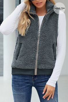 Winter Style // Look extremely stylish while feeling cozy in this gray casual sherpa fleece vest. Get one here. Vest Jacket, Hooded Jacket, Collar Designs, Fleece Vest, High Collar, Winter Style, Lounge Wear, Zip Ups, Winter Fashion