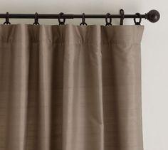 "Dupioni Silk Drape, 50 x 84"" Pole Pocket, Brownstone master bedroom"